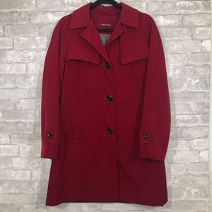 Calvin Klein Red Trench Coat Size S